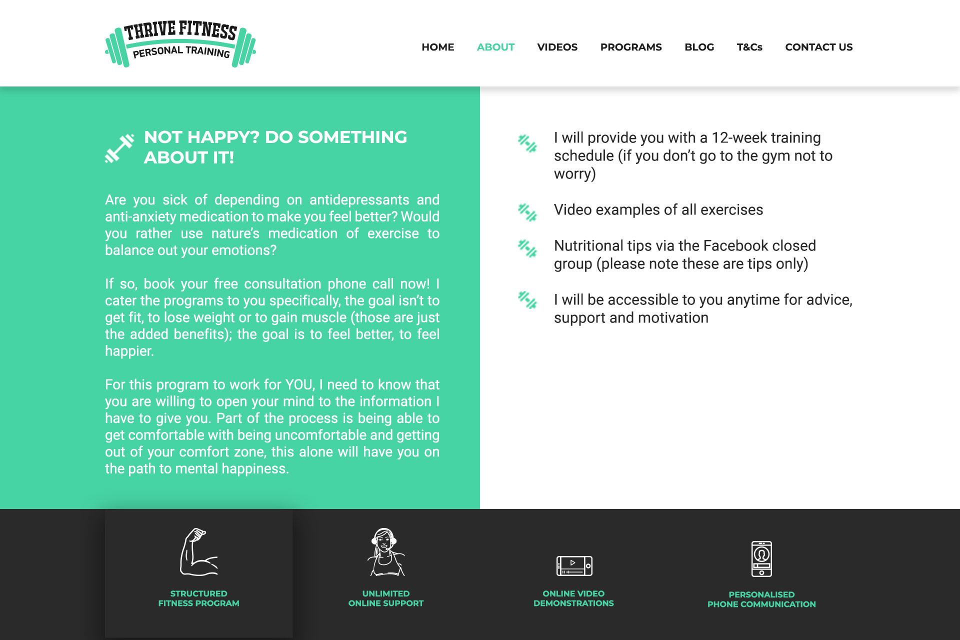 Website Design & development Solutions | About| Thrive Fitness instructions| Dumbbell logo| small icons| Black Footer