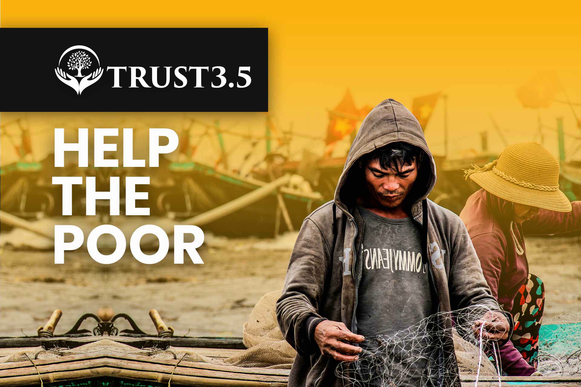 Website design & development. Yellow & White template. Poor kid image. Christian Charity Institute