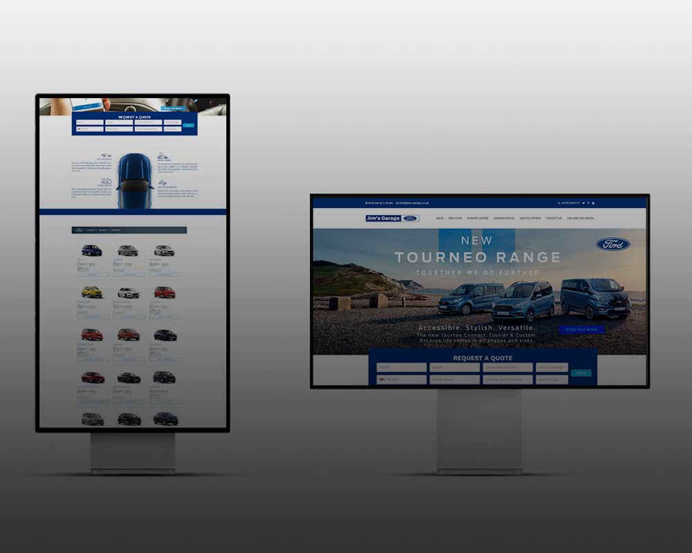 Car website image | Ford ecommerce solutions Pakistan | Blue & White Cms | Affordable web page development vector