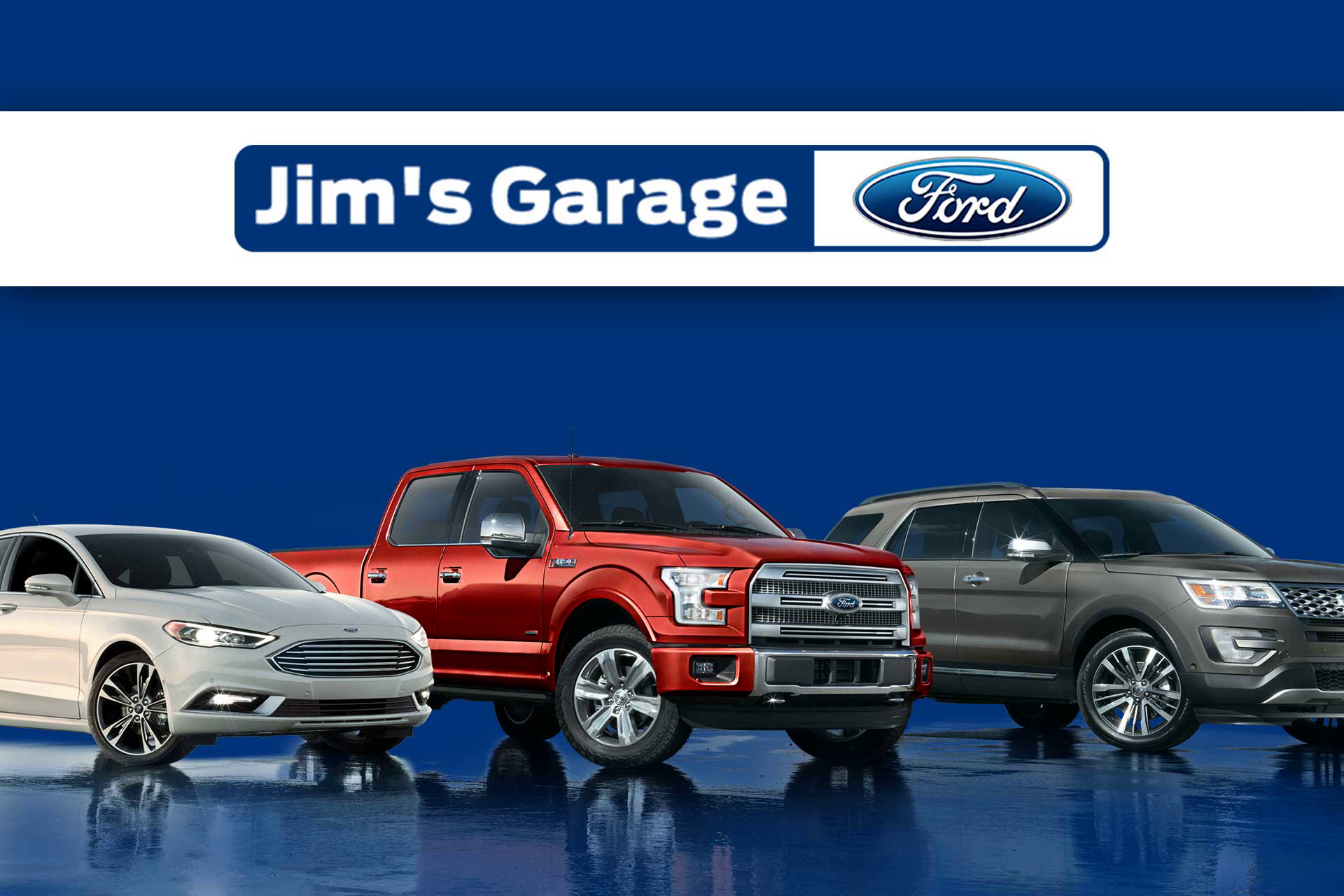 Blue car theme| Ford| Luxury vehicles| Blue & grey| Website Design & Development mockup| Jims Garage| Get Solutions