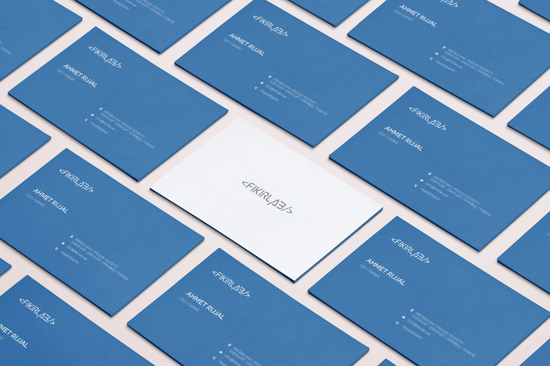 Vertical Fikirlab business cards Blue & White stationery mockup ideas| Custom logo design| Get Solutions| Affordable