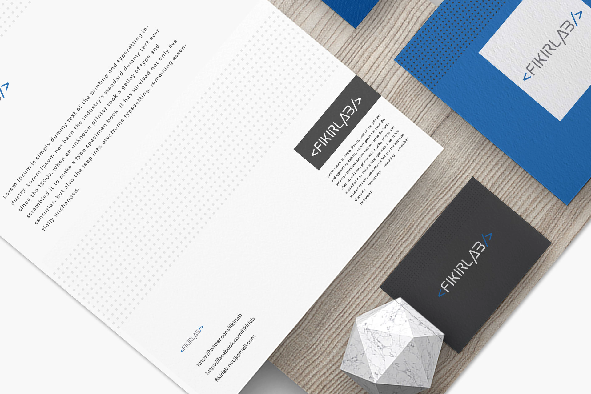 Page vector. Stationery design mockup ideas. Marble. Fikirlab. Typed text. Black card. Blue. Logo design Solutions