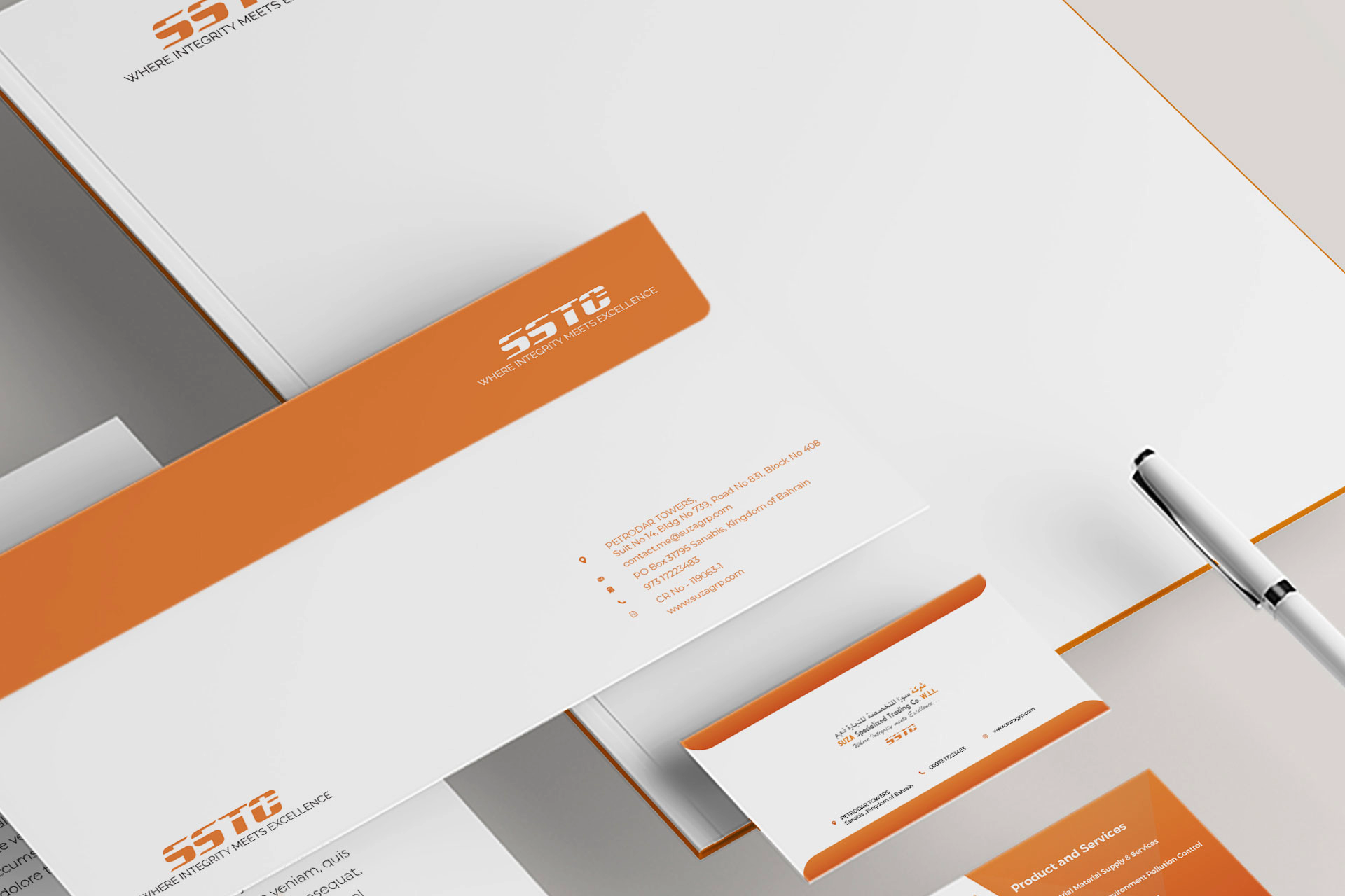 Stationery design mockup ideas. Logo design agency. Orange border Envelope. Visiting card. Branding. Get Solutions