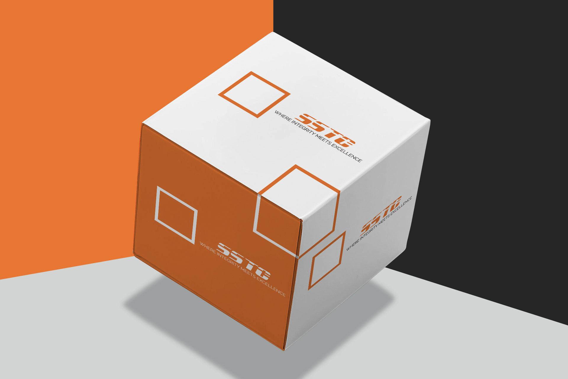 Cubic shape. SSTC. White & Orange Squares. Dynamic approach. Abstract Logo design. Unique branding. Get Solutions