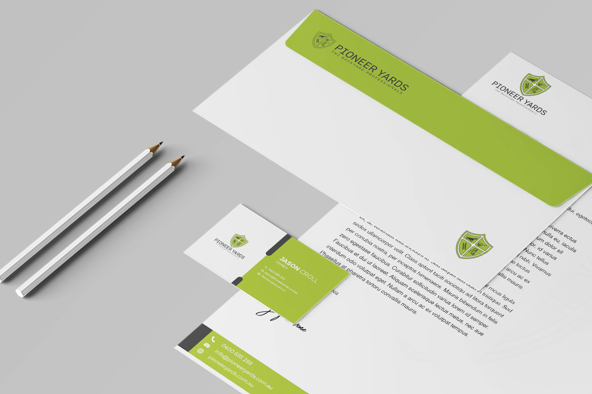 Green & White stationery design mockup ideas| Gardening tools Letterhead |Business card| Envelope| Get Solutions