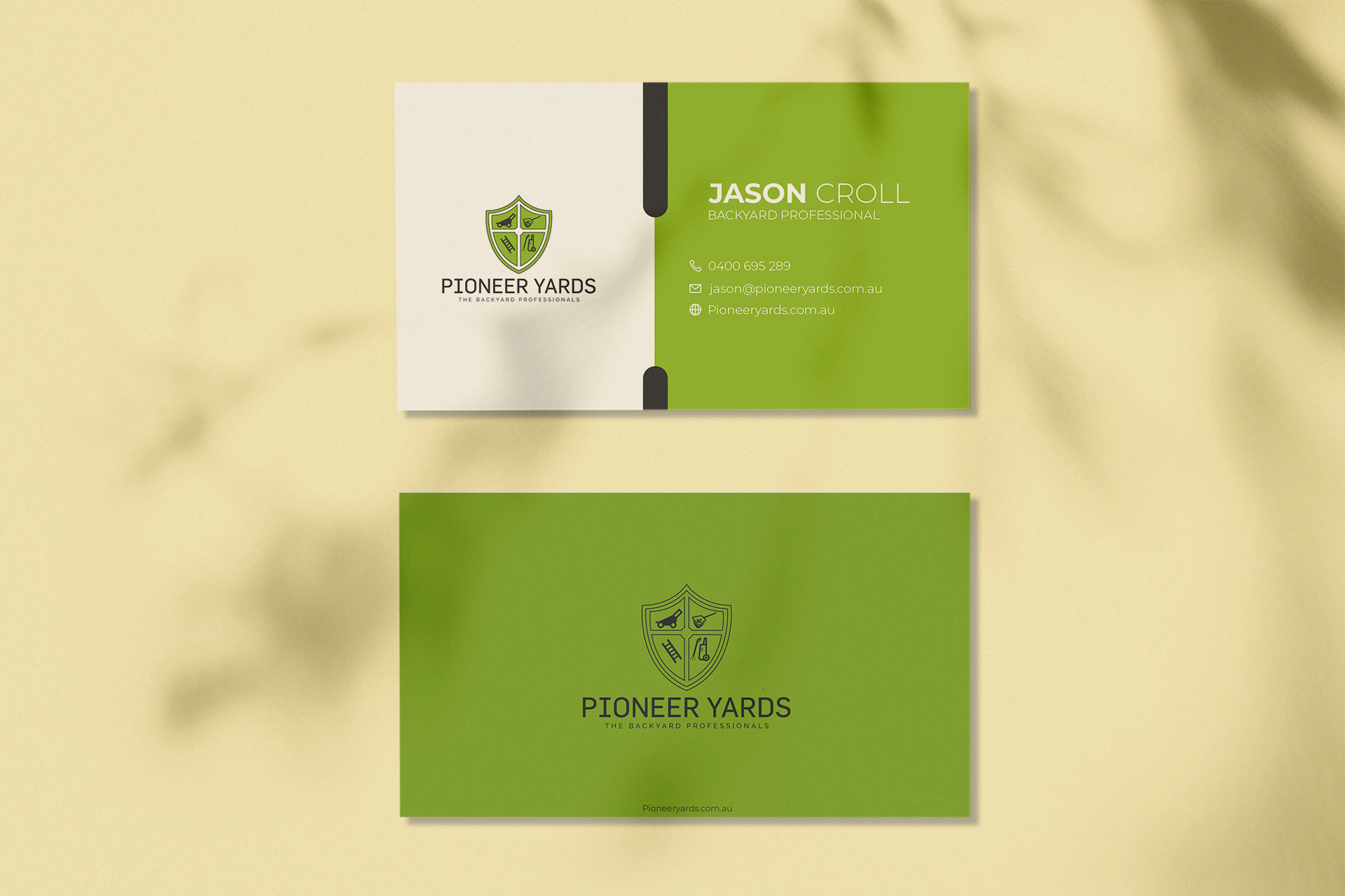Pioneer Yards business card mockup design ideas| Green| Black| White | Gardening tools Logo| Custom| Get Solutions