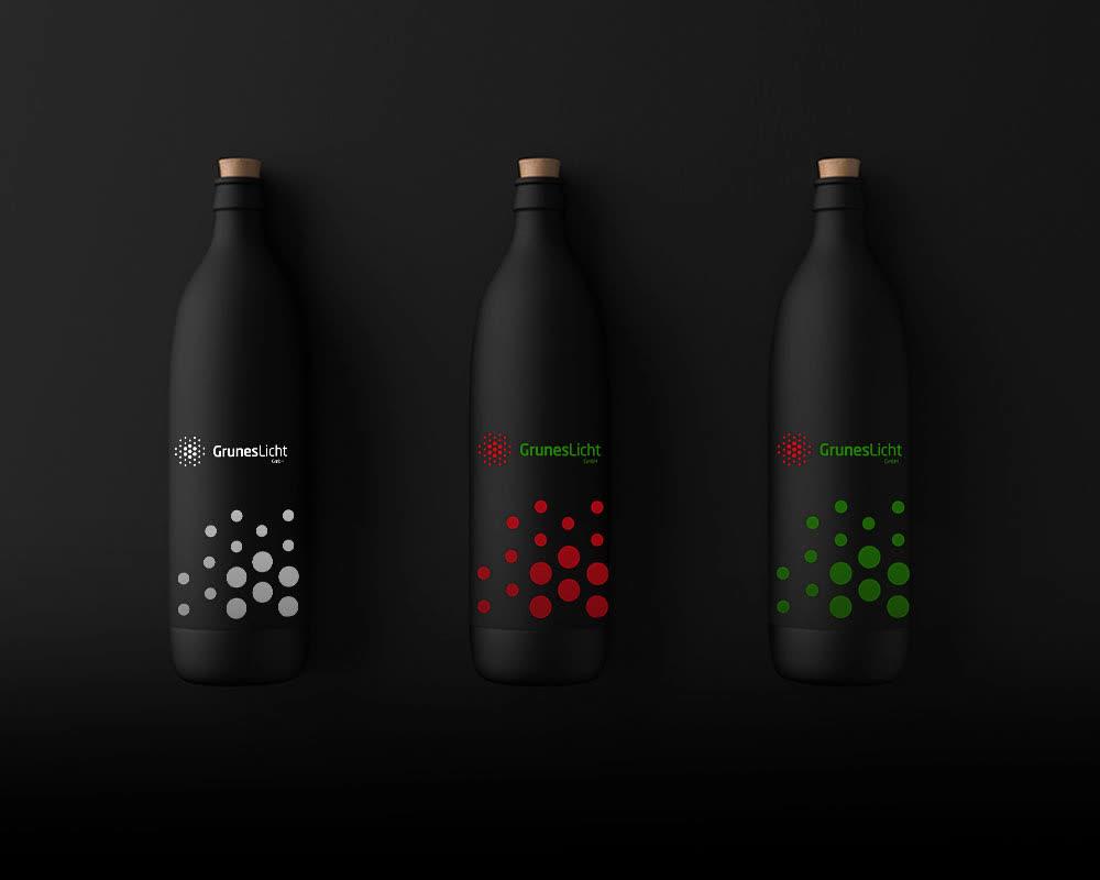 3 black water bottles logo design mockup ideas. Red, Green & White. Emblem. Wordmark. Custom Dark theme. Get Solutions