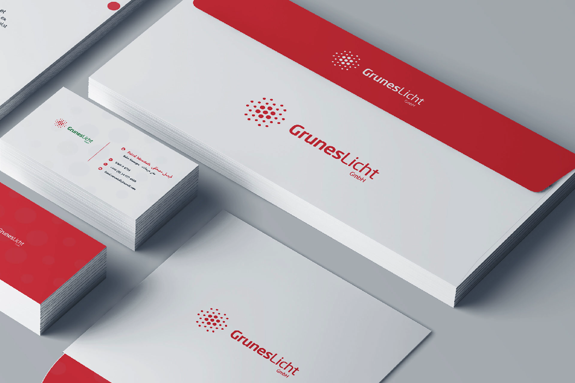 GMBH. Red &White business cards. Custom stationery design mockup ideas. Dotted pattern. Cheap Logo. Get Solutions