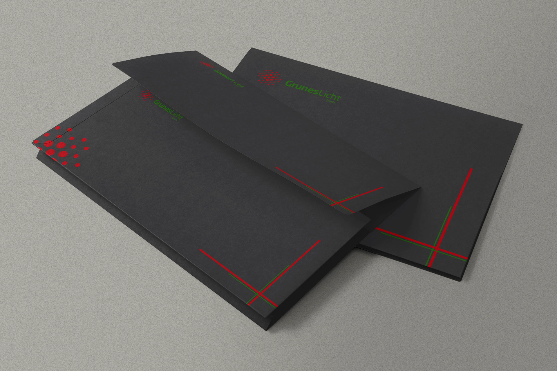 Black stationery design mockup ideas Envelope| Red Dots| Neon Green| Abstract lines| Affordable Logo| Get Solutions