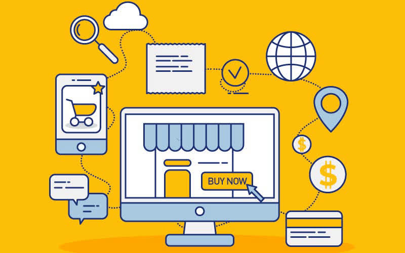 Yellow online store vector mockup |Ecommerce | Screen |Buy Now| Shopping cart| Dollar| Globe| Magnifier| GetSolutions360