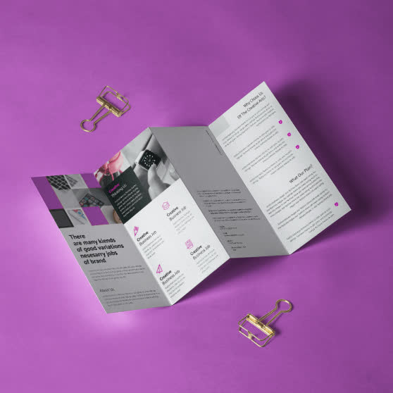 Brochure mock-up ideas. Digital Catalogue. Flyers. Leaflets. Purple Abstract Theme. Paper clip. Four fold. Design Firm