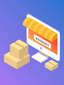 Blue & Purple gradient vector| Orange monitor screen| Cardboard packages| Online boxes| Best product description writers