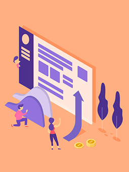Abstract shapes  Orange & Purple vector  Dollar coin  Trees   SEO   Best content writing agency  Arrow Sign  Copywriting