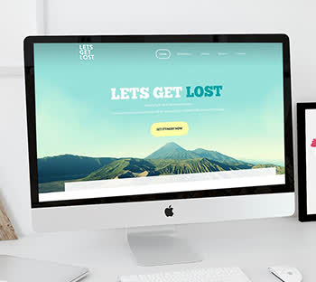 Green Mountains. Lets get lost. Nature. Webpage mockup. Web design & development ideas. Mobile friendly. SEO. Responsive