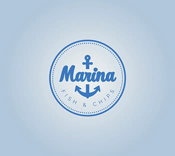 Seafood combination logo| Text plus emblem| Light & Dark logo design ideas |Anchor| Fish & chips theme| GetSolutions360