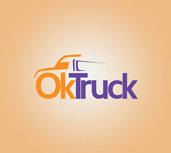 Stunning Orange with Purple logo design ideas. Truck emblem. OkTruck icon. Best wordmark. Pakistani designers. GetSolutions360