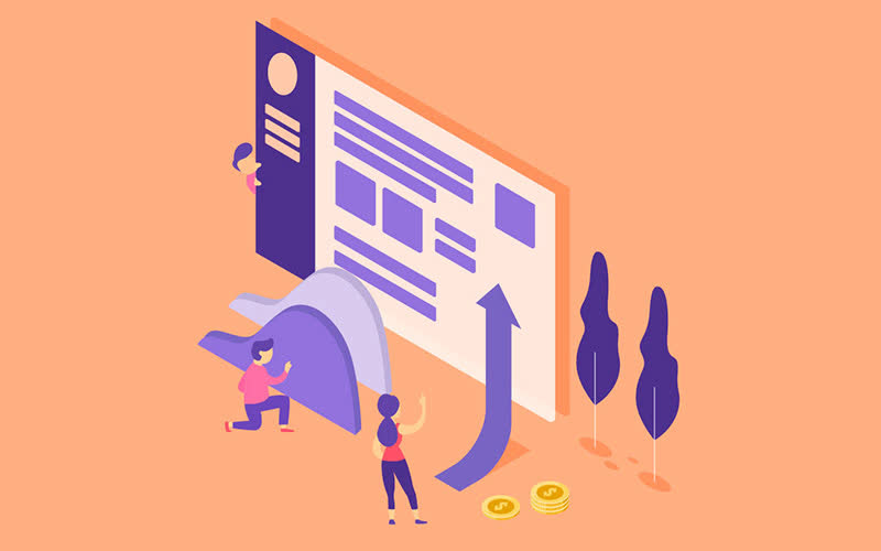 Abstract image| Orange & Purple vector| Dollar coin| Trees |SEO |Best content writing agency| Arrow Sign| Copywriting