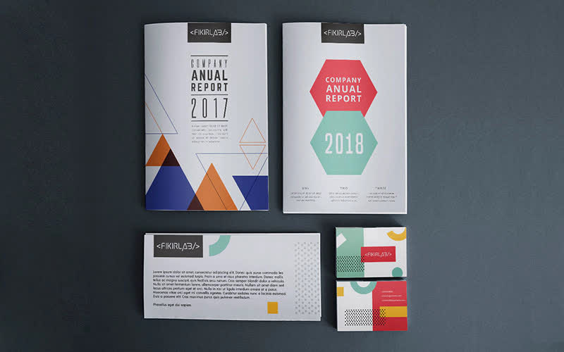 Pakistan top design agency |Colorful Stationery mockup |Trendy| Abstract |Annual Report ideas| Get Solutions360| Custom