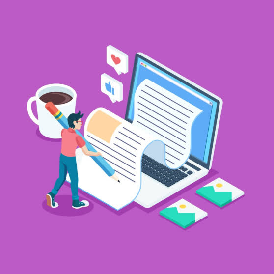 Purple vector image. Coffee mug. Blue laptop. Writing. Pencil. Best Copywriting Company. Nature squares. GetSolutions360